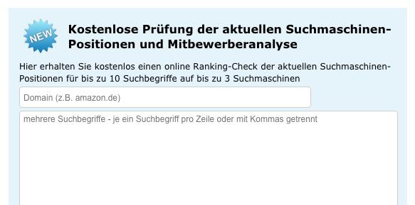 Das Tool von ranking-spy ermöglicht eine kostenlose Analyse des eigenen Rankings und der Mitbewerber (Screenshot 01/2019)