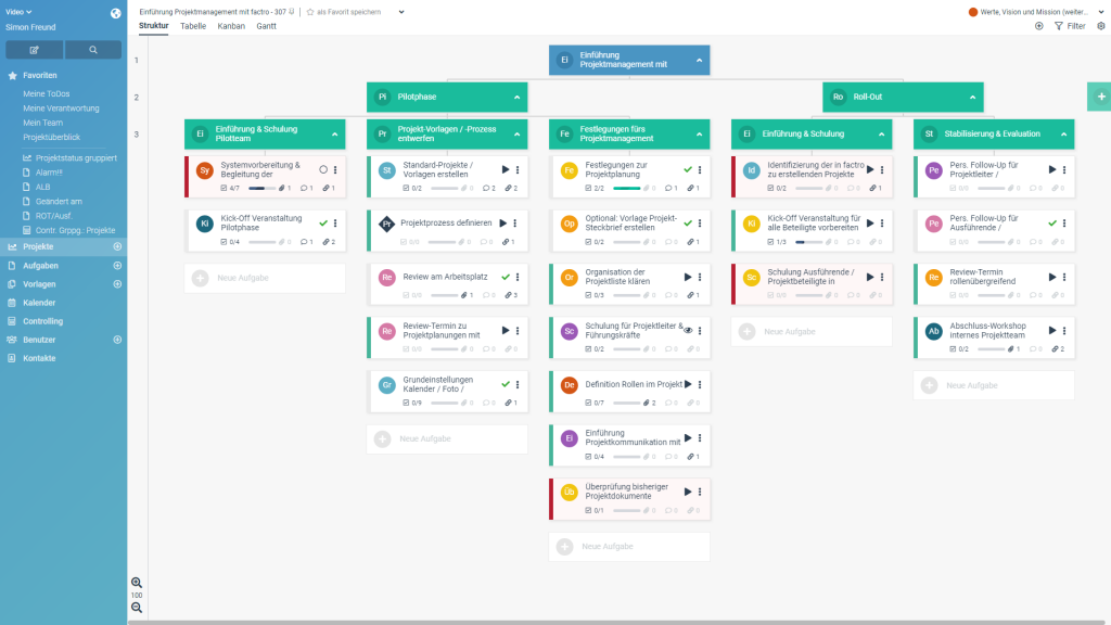 Projektmanagement-Software factro (Screenshot 12/2018)