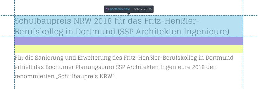 """Die Hauptüberschrift einer HTML-Seite sollte als """"h1"""" definiert sein (Screenshot von architekturmeldungen.de, 01/2019)"""