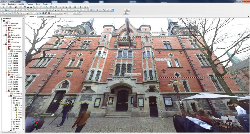 Faro Scene Software: Abstandsmessungen im Fotopanorama (Abbildung: Johannes Rechenbach)