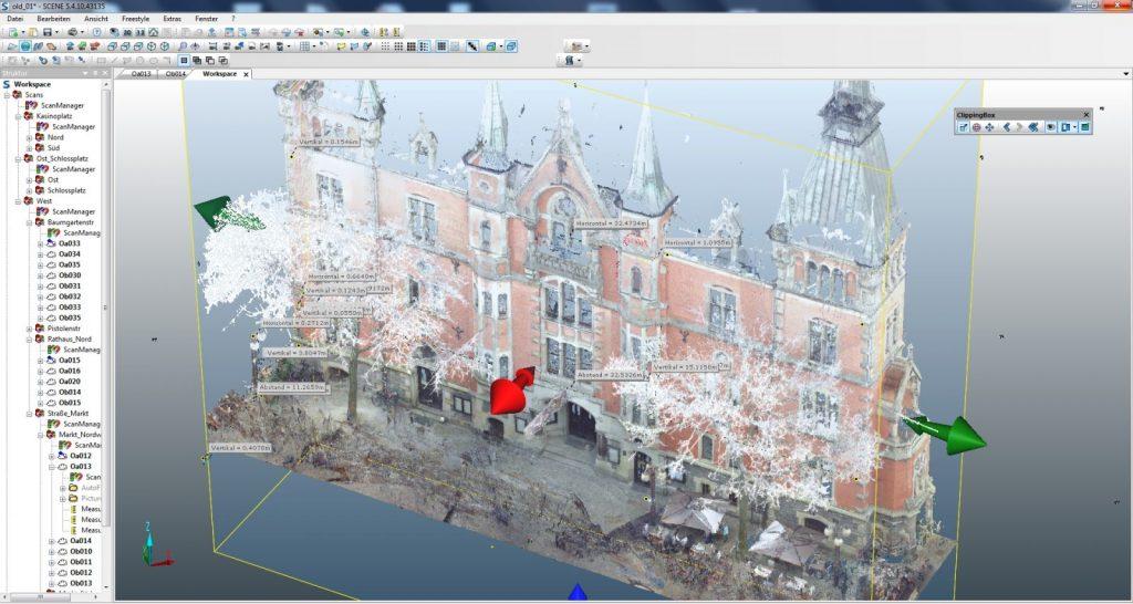 Faro Scene Software: Freistellen von Teilen der Punktwolke (Abbildung: Johannes Rechenbach)