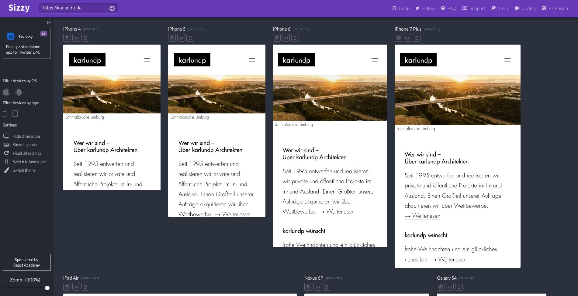 """Ist Ihre Büro-Website """"responsive"""" - Test der unterschiedlichen Bildschirmgrößen auf sizzy.co"""