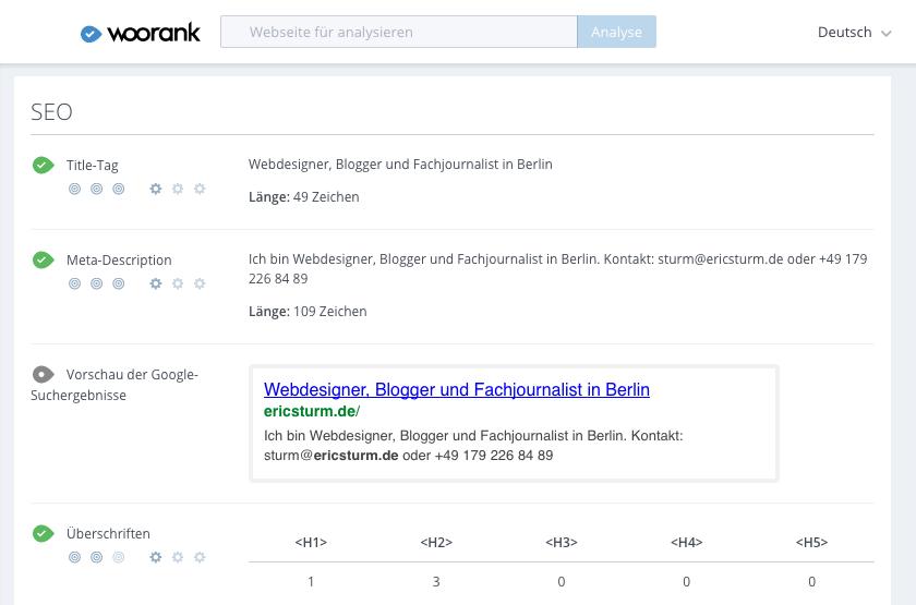 Screenshot: Auf woorank werden detaillierte Tipps zur Suchmaschinenoptimierung angezeigt.