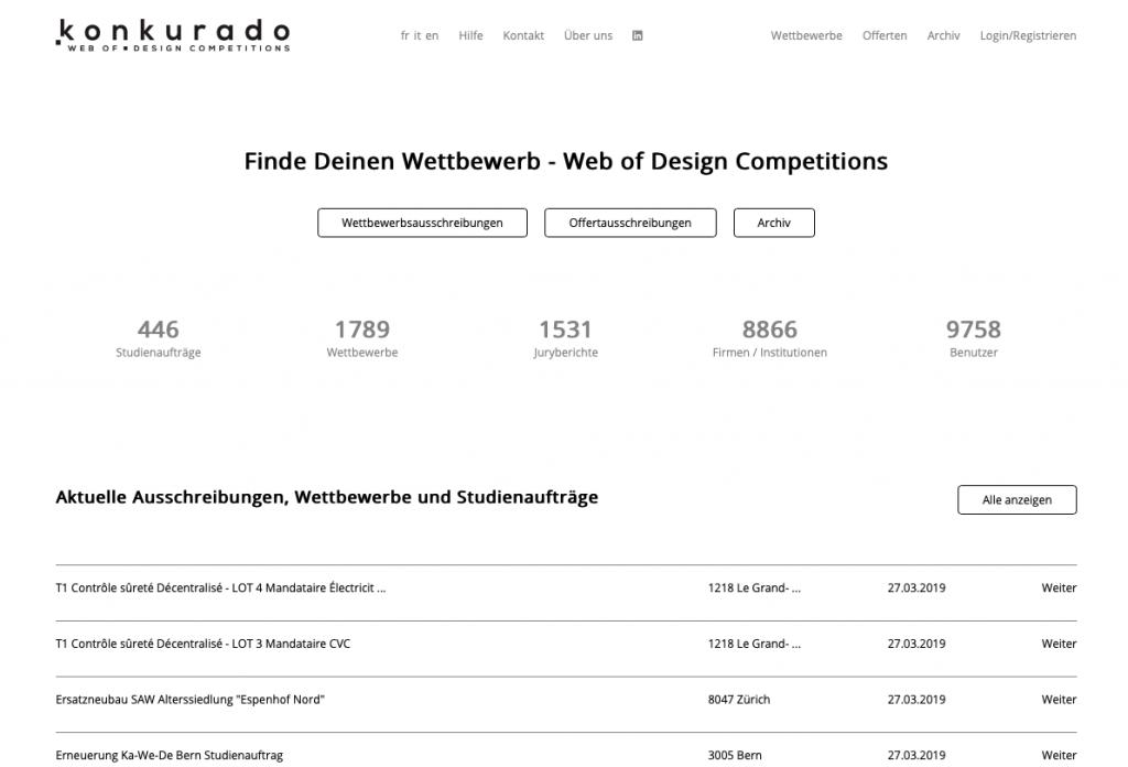 KONKURADO: Schweizer Informationsplattform für Architektur- und Ingenieurwettbewerbe