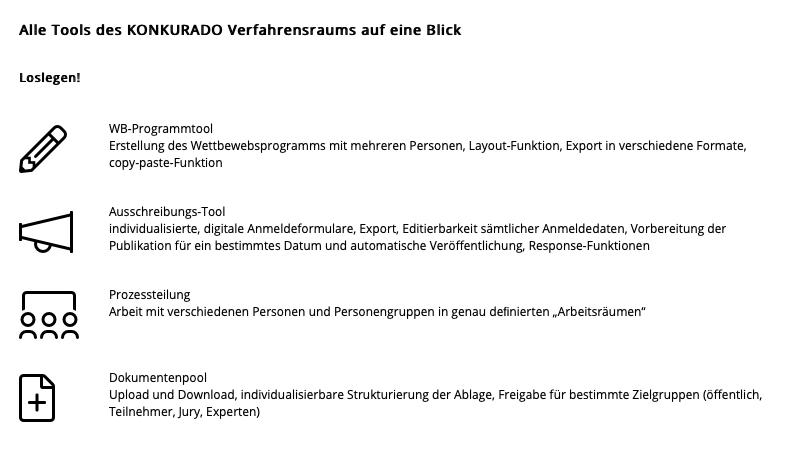 Alle Tools des KONKURADO Verfahrensraums auf einen Blick (Screenshot 03/19 von konkurrado.ch)