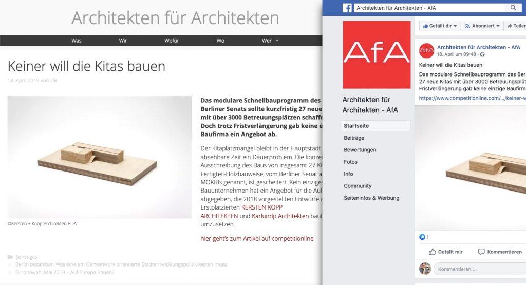 """Website und Facebook-Seite des Netzwerkes """"Architekten für Architekten"""" (AfA) aus Berlin"""