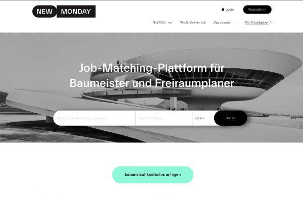 New Monday (Callwey Verlag): Job-Matching-Plattform für Architekten, Bauingenieure und Landschaftsarchitekten; Screenshot Ende Mai 2019