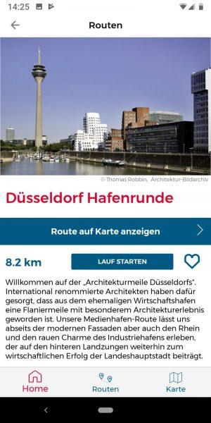 """Screenshot der App """"Sight Running NRW"""" mit einer Runde im Medienhafen Düsseldorf (Screenshot: AKNW)"""
