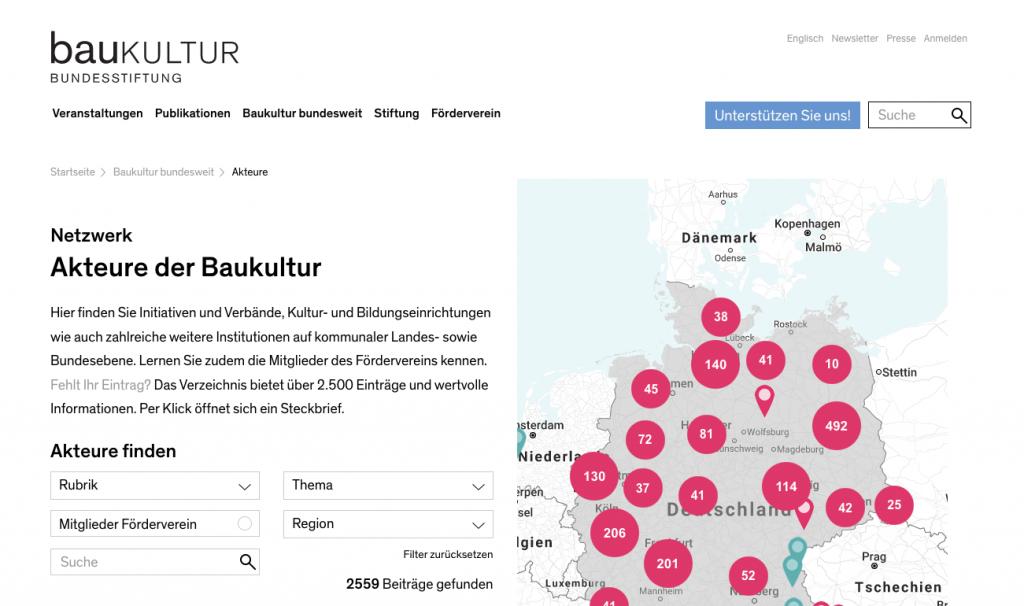 """Netzwerkverzeichnis """"Akteure der Baukultur"""" (Screenshot bundesstiftung-baukultur.de, Juli 2019)"""