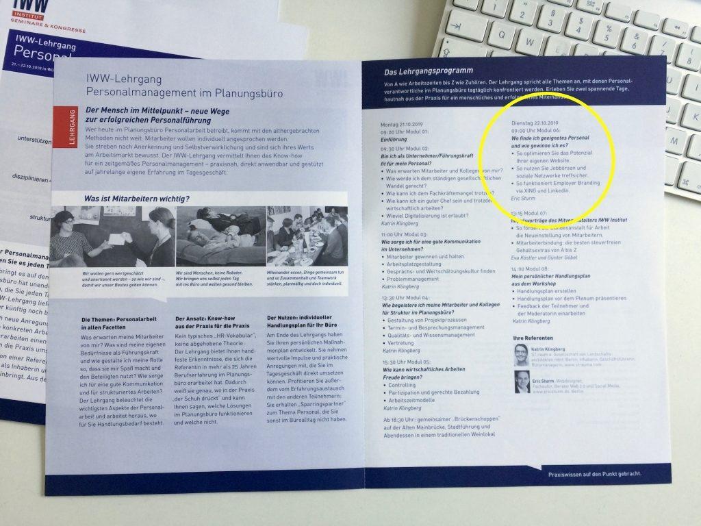 """Der Part von Eric Sturm beim IWW-Lehrgang """"Personalmanagement im Planungsbüro"""""""