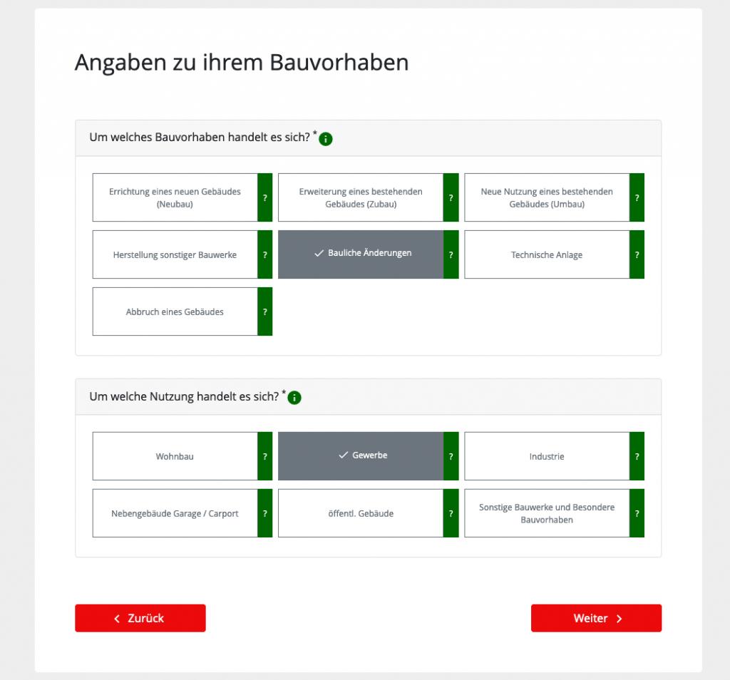 Angaben zum Bauvorhaben bei der Baueinreichung bzw. dem Bauantrag online (Screenshot September 2019 von mein.wien.gv.at)
