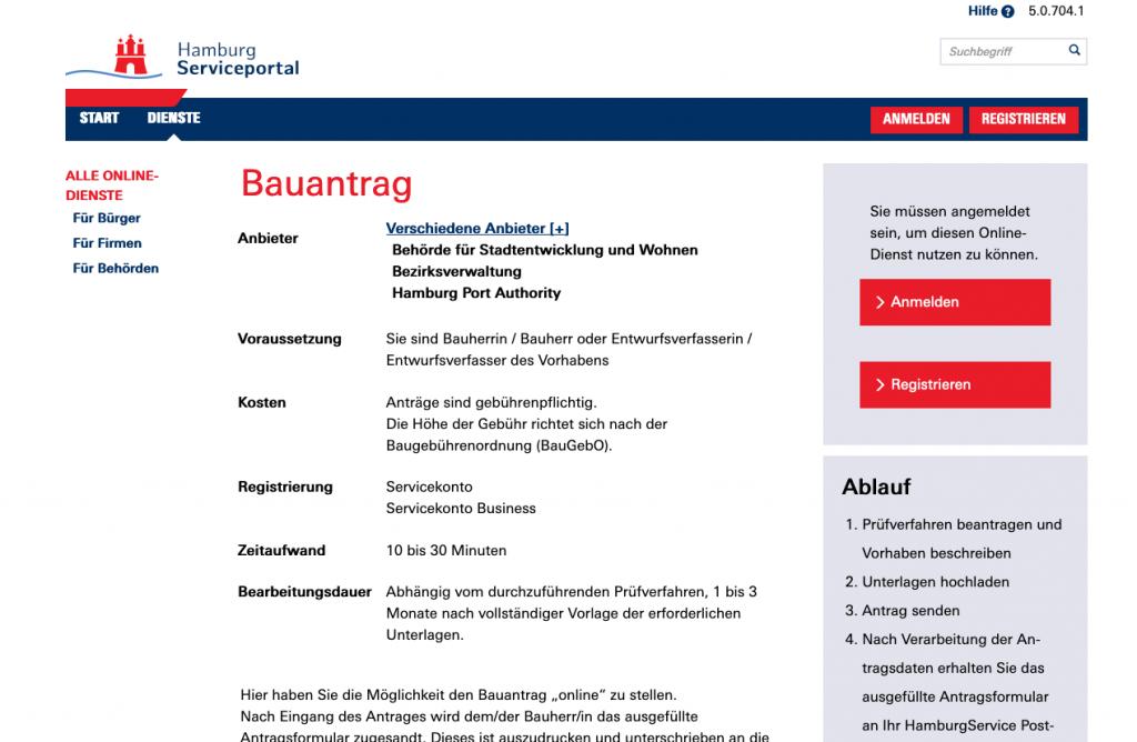 Auf dem Hamburger Serviceportal können Bauanträge online eingereicht werden (Screenshot September 2019 von gateway.hamburg.de)