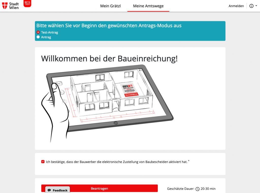 In Wien können seit Juni 2019 Bauanträge online eingereicht werden (Screenshot September 2019 von mein.wien.gv.at)