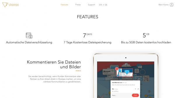 """File-Sharing-Dienst """"Sharepa"""" von RenderThat aus Hamburg (Screenshot September 2019)"""