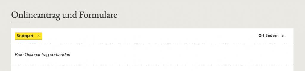 """Vergebliche Suche nach dem Online-Antrag für eine Baugenehmigung auf dem """"Serviceportal Baden-Württemberg"""" (Screenshot September 2019)"""