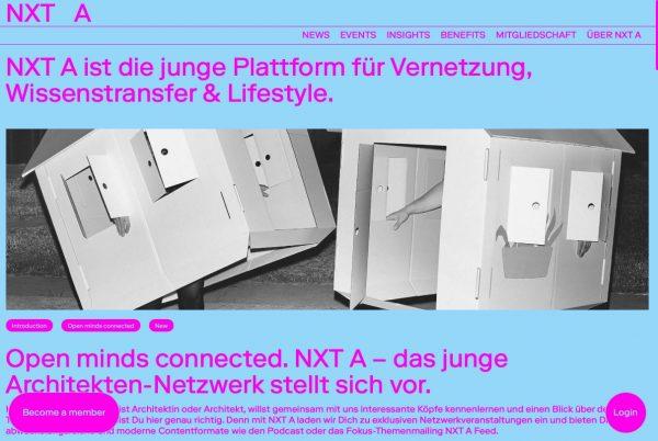 NXT A: Die neue Architektur-Plattform des Callwey-Verlags bietet seinen zahlenden Mitgliedern News, Fachinformationen, Events und Podacsts! (Screenshot Oktober 2019)
