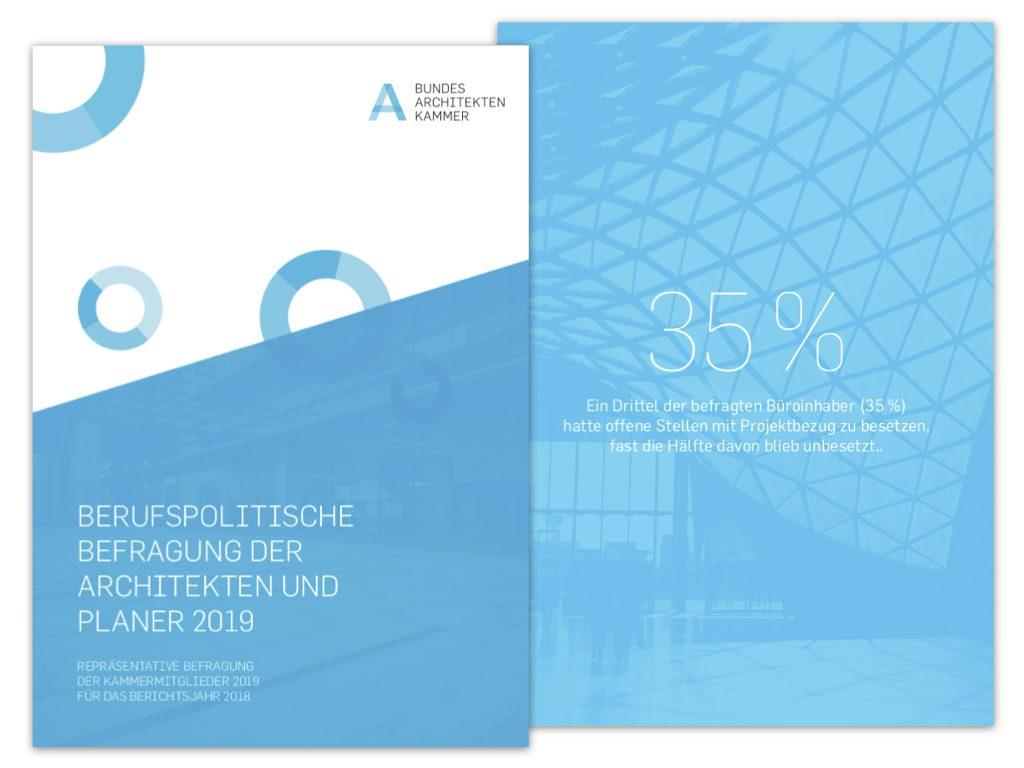 Deckblatt und Einzelseite aus der Architektenbefragung der Bundesarchitektenkammer 2019 (Screenshots der PDF-Datei)
