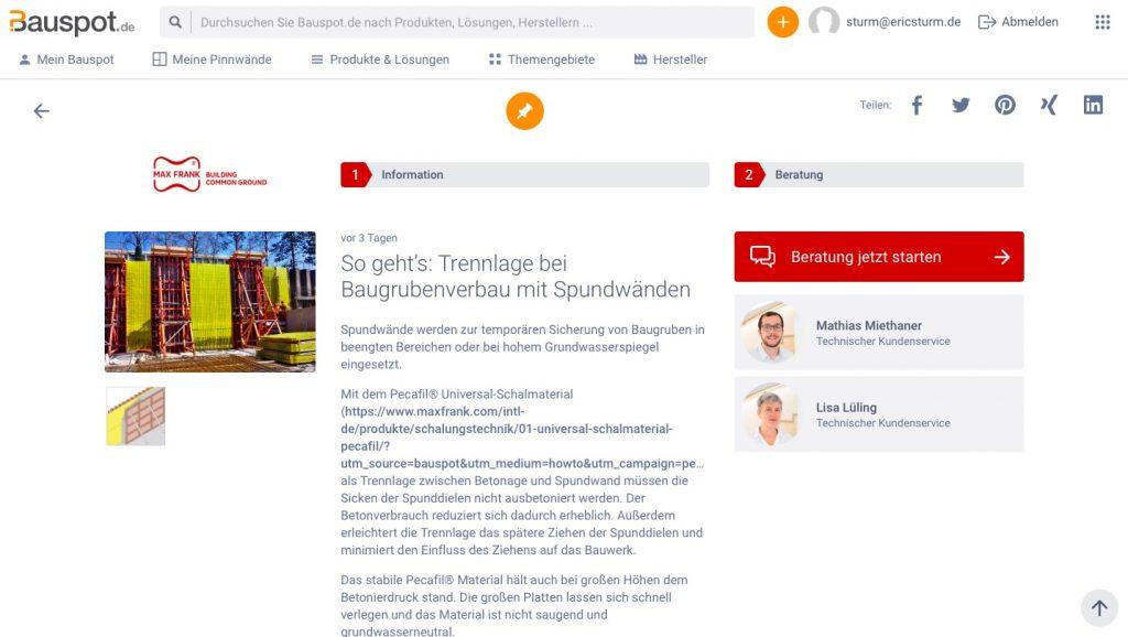 Detailseite zu einem Produkt mit Kontaktmöglichkeit zum Hersteller (Screenshot Januar 2020)