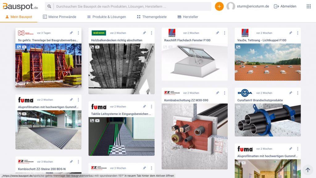 Aktuelle Meldungen und Produktinformationen zu Bauprodukten auf Bauspot.de, zusammengestellt nach persönlichen Interessen (Screenshot Januar 2020)
