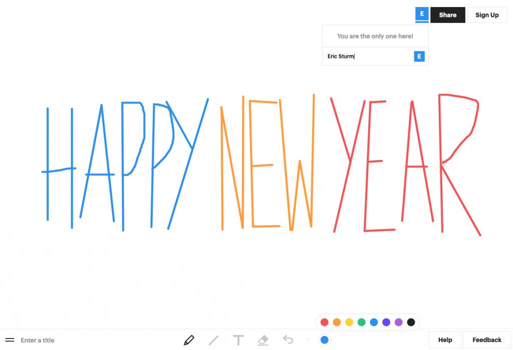 """Oben rechts der Sharing-Link, unten die Werkzeuge von """"Witeboard"""" (Screenshot Januar 2020)"""