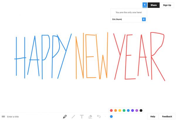 """Oben rechts der Sharing-Link, unte ndie Werkzeuge von """"Witeboard"""" (Screenshot Januar 2020)"""