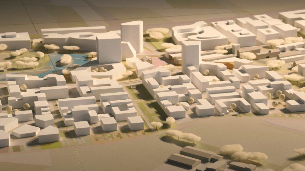 Ein Städtebaumodell im 3D-Druckverfahren (Patrick-Henry-Village, Heidelberg; Foto: Formicore)