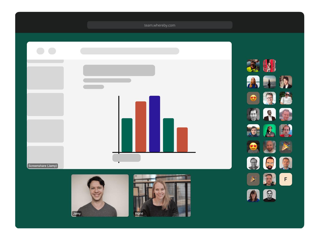 Whereby: Video-Konferenzen mit wenigen oder vielen Teilnehmern – inklusive Bildschirmfreigabe (Grafik: whereby.com)