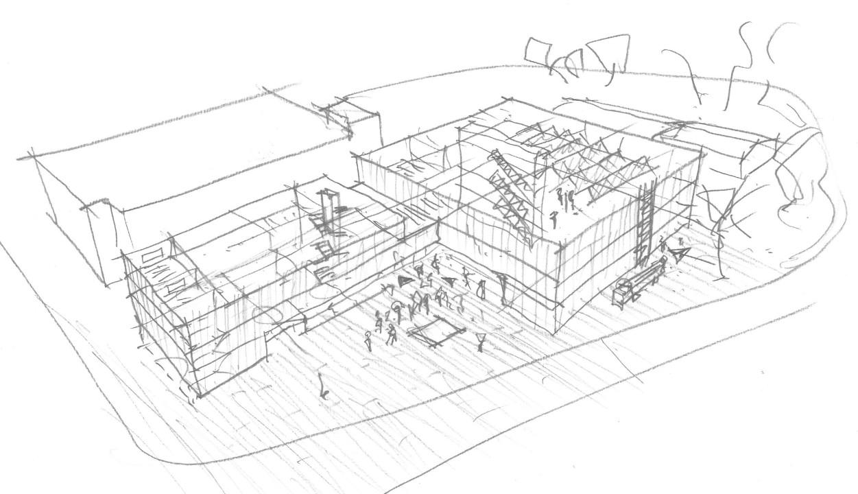 Entwurfsskizze (Bild: Neugebauer + Rösch Architekten)