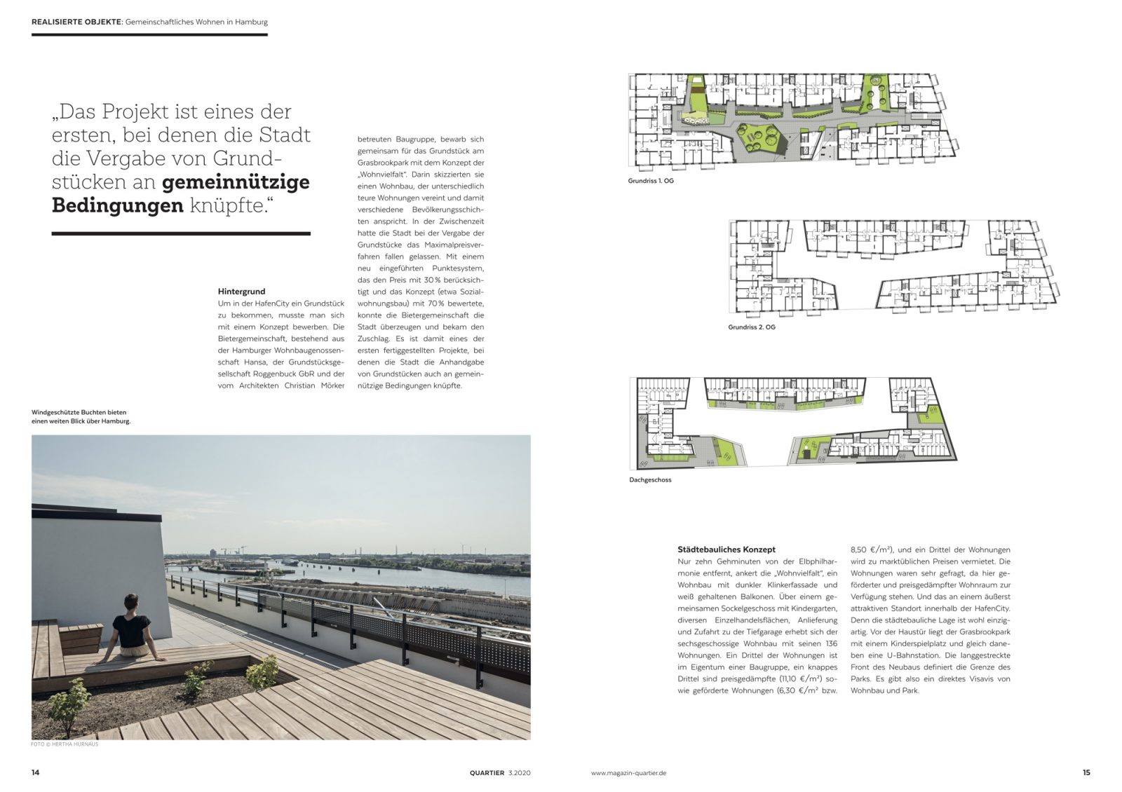 Das Projekt ist eines der ersten, bei denen die Stadt die Vergabe der Grundstücke an gemeinnützige Bedingungen knüpfte (Bild: QUARTIER)