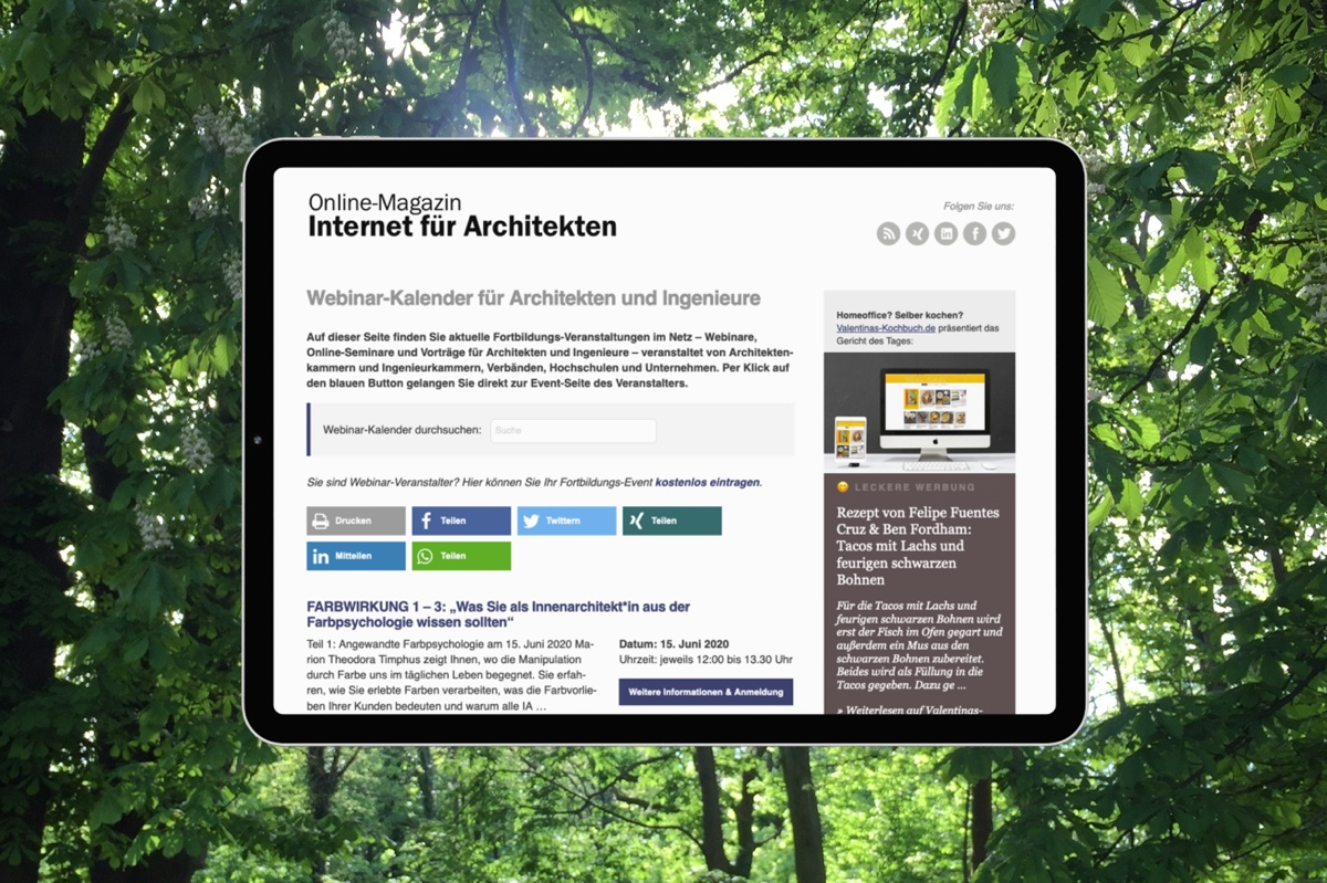 Online-Fortbildung für Architekten und Ingenieure im Webinar-Kalender (Collage: Internet-fuer-Architekten.de)