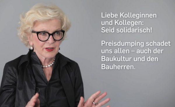 Interview-Video der Bundesarchitektenkammer zur HOAI, produziert von WWS Film BERLIN (Screenshot des Videos auf Vimeo, Ausschnitt)
