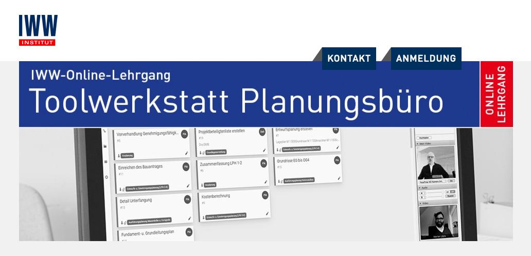 """IWW-Online-Lehrgang """"Toolwerkstatt Planungsbüro"""" (Screenshot Website)"""