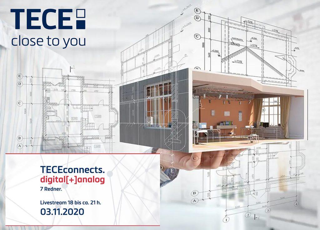 Live-Stream am 03.11.2020: TECEconnects – Digitalisierung in der Baubranche (Abbildung: TECE)