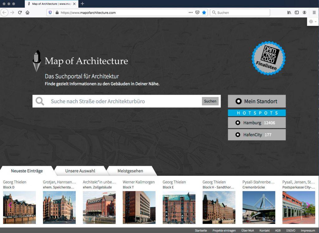 Die Startseite der neuen Online-Plattform (Abbildung: Map of Architecture)