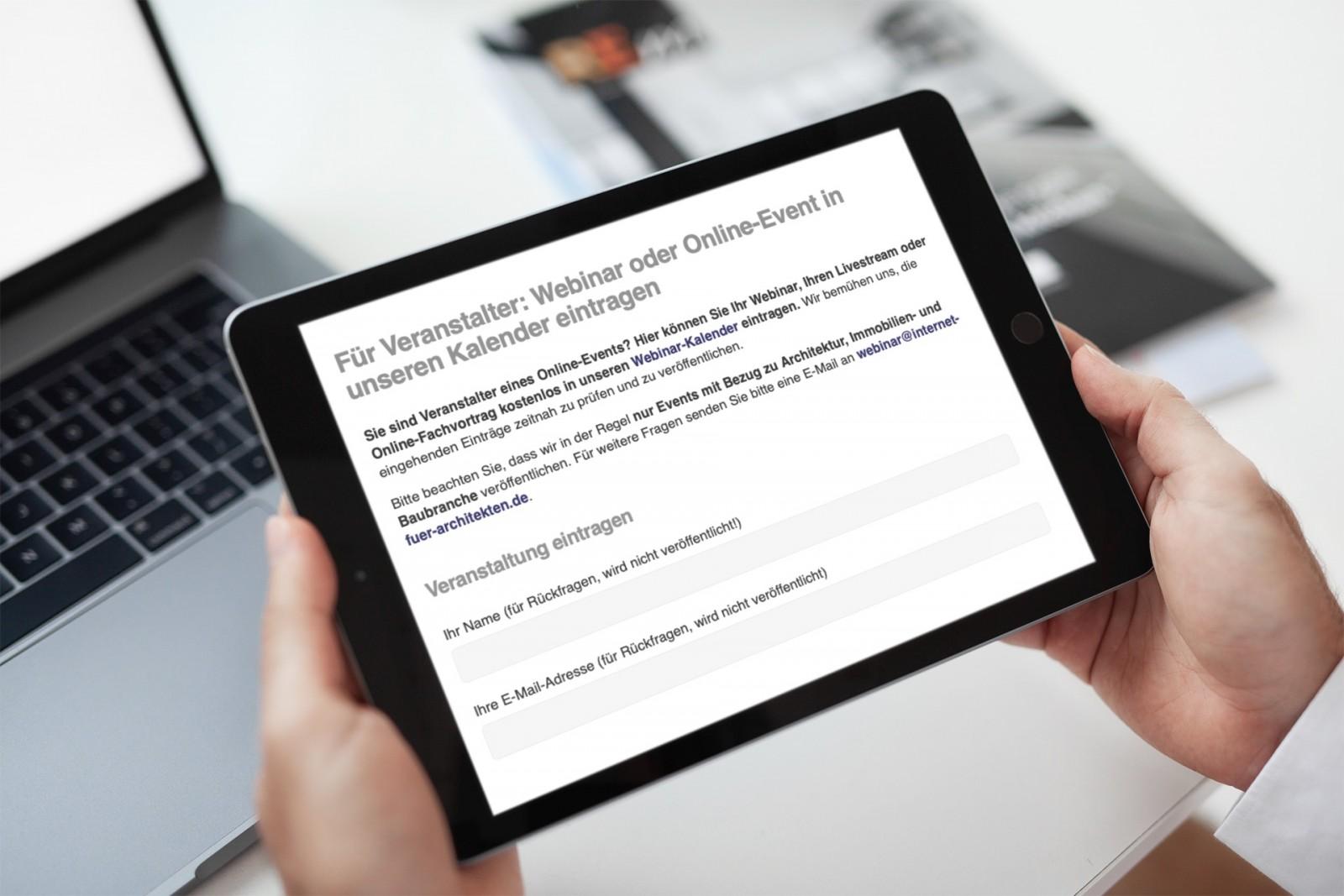Online-Seminare und Livestreams aus Architektur und Bauwesen kostenlos veröffentlichen (Foto: Internet-fuer-Architekten.de)