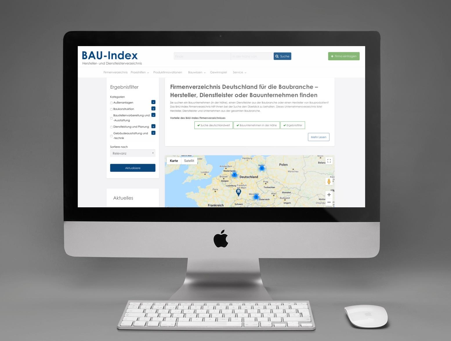 Deutschlandweite Suche nach Produkten, Herstellern, Dienstleistern oder Bauunternehmen (Abbildung: Internet-fuer-Architekten.de)