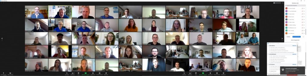 Corona-bedingt virtuelles Klausur-Wochenende im Mai 2020 (Screenshot: QualitätsVerbund Planer am Bau)