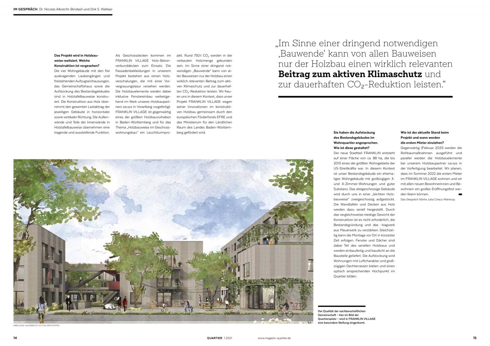 Der Qualität der nachbarschaftlichen Gemeinschaft wird in FRANKLIN VILLAGE eine besondere Stellung eingeräumt. (Abbildung: QUARTIER Fachmagazin für urbanen Wohnungsbau)
