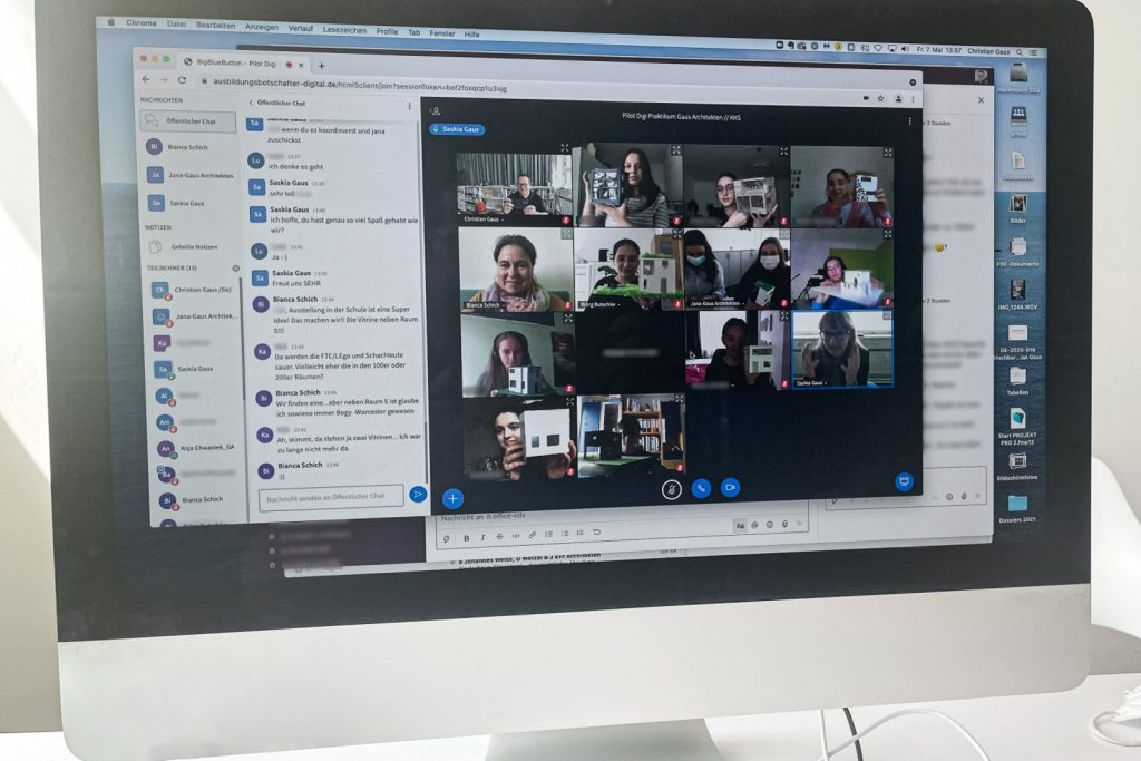 Teilnehmende des BOGY-Praktikums bei Gaus Architekten im Online-Meeting (Foto: Gaus Architekten)