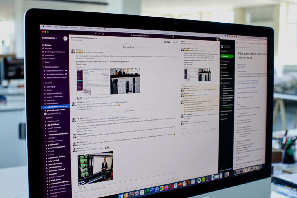 Informationsaustausch via Chat-Tool im Architekturbüro: Hier Slack als Desktop-App (Foto/Screenshot: Gaus Architekten)