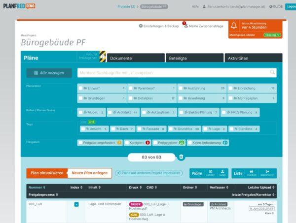 Übersicht der Pläne eines Bauprojektes (Screenshot: PLANFRED, Juni 2021)