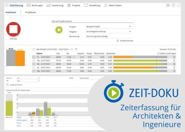 Die Zeiterfassung für Architekten und Ingenieure (Screenshot: WEKA MEDIA)