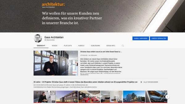 Stellenangebot von Gaus Architekten, Göppingen: Social Media-Talent gesucht! (Screenshot Youtube-Kanal Gaus Architekten, 2021)